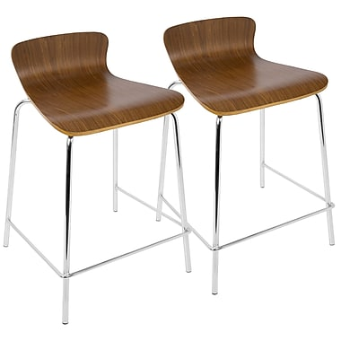 LumiSource Woodstacker Stackable Contemporary Counterstools in Walnut- Set of 2 (CS-STAKWD WL2)