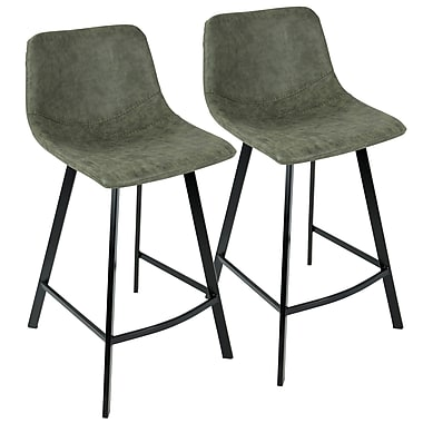 LumiSource Outlaw Industrial Counter Stool in Green PU, 2/Set (CS-OUTLW BK+GN2)