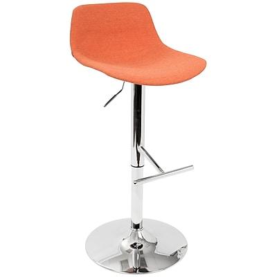 LumiSource Tazza Contemporary Adjustable Barstool in Orange Fabric (BS-TAZZA O)