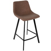 LumiSource Outlaw Industrial Counter Stool in Brown PU- Set of 2 (CS-OUTLW BK+BN2)