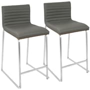 "LumiSource Mara Contemporary 26"" Counter Stool+ in Walnut and Grey-Set of 2 (B26-MARA WL+GY2)"