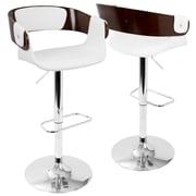 LumiSource Envi Mid-Century Modern Adjustable Barstool in Cherry and White (BS-ENVI CH+W)