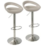LumiSource Swizzle Contemporary Adjustable Barstool in Matte Grey with Stainless Steel Finish-Set of 2 (BS-SWZL GY2)
