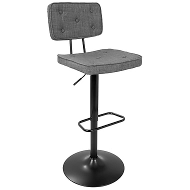 LumiSource Stanza Contemporary Adjustable Barstool in Black and Grey (BS-STANZA BK+GY)