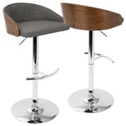 LumiSource Shiraz Mid-Century Modern Adjustable in Walnut and Grey (BS-SHRZ WL+GY)