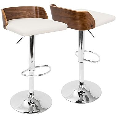 LumiSource Maya Mid Century Modern Adjustable Barstool in Walnut Wood and Cream (BS-MAYA WL+CR)