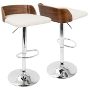 LumiSource Maya Mid-Century Modern Adjustable Barstool  in Walnut Wood and Cream PU (BS-MAYA WL+CR)
