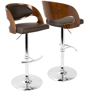 LumiSource Pino Mid Century Modern Adjustable Barstool with Swivel in Walnut and Brown (BS-JY-PN WL+BN)