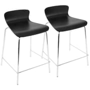 LumiSource Woodstacker Stackable Contemporary Counterstools in Black- Set of 2 (CS-STAKWD BK2)
