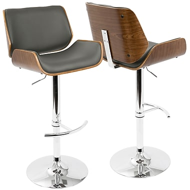 LumiSource Santi Mid Century Modern Adjustable Barstool in Walnut and Grey (BS-JY-SNT WL+GY)