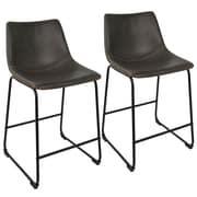 "LumiSource Duke Industrial 26"" Counter Stool+ in Black and Grey with Orange Stitch-Set of 2 (B26-DUKZ BK+GY2)"