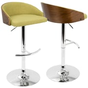LumiSource Shiraz Mid-Century Modern Adjustable Barstool in Walnut and Green (BS-SHRZ WL+GN)