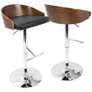 LumiSource Chianti Mid-Century Modern Barstool in Walnut and Black PU (BS-CHIANT WL+BK)