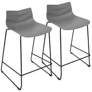 LumiSource Arrow Contemporary Counter Stool in Black and Grey-Set of 2 (CS-ARROW BK+GY2)