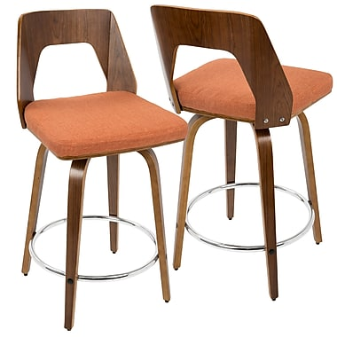 LumiSource Trilogy Mid Century Modern Counter Stool in Walnut Wood and Orange Fabric (CS-TRILO WL+O)