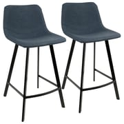 LumiSource Outlaw Industrial Counter Stool in Blue PU by- Set of 2 (CS-OUTLW BK+BU2)