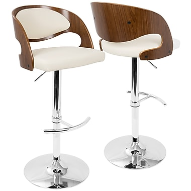 LumiSource Pino Mid-Century Modern Adjustable Barstool with Swivel in Walnut and Cream (BS-JY-PN WL+CR)