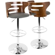 LumiSource Cosi Mid-Century Modern Adjustable Barstool in Walnut and Grey with Swivel (BS-COSI WL+GY)
