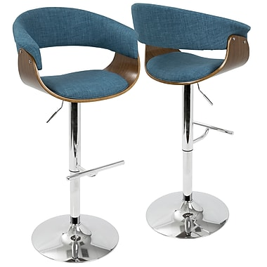 LumiSource Vintage Mod Mid Century Modern Adjustable Barstool in Walnut and Blue with Swivel (BS-VMO WL+BU)