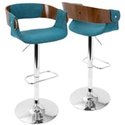 LumiSource Envi Mid-Century Modern Adjustable Barstool in Walnut and Blue Teal (BS-ENVI WL+BUTL)