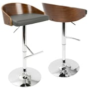 LumiSource Chianti Mid-Century Modern Barstool in Walnut and Grey PU (BS-CHIANT WL+GY)