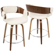 LumiSource Elisa Mid-Century Modern Counter Stool in Walnut and Cream (CS-ELISA WL+CR)
