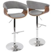 LumiSource Vintage Mod Mid-Century Modern Adjustable Barstool in Walnut and Light Grey with Swivel (BS-VMO WL+LGY)