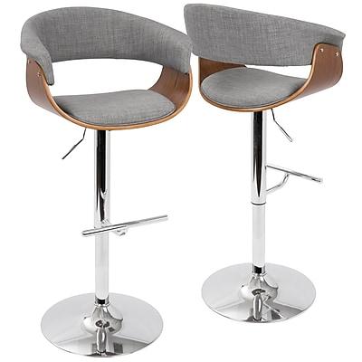 LumiSource Vintage Mod Mid-Century Modern Adjustable Barstool in Walnut and Light Grey with Swivel (BS-VMO WL+LGY)
