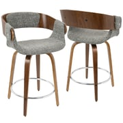 LumiSource Elisa Mid-Century Modern Counter Stool in Walnut and Grey  (CS-ELISA WL+GY)