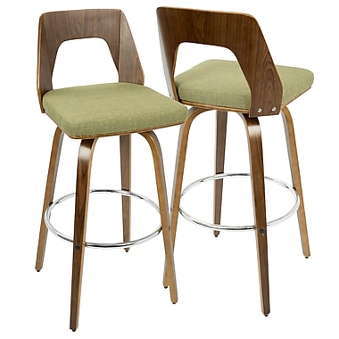 LumiSource Trilogy Mid Century Modern Barstool in Walnut and Green (BS-TRILO WL+GN)