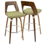 LumiSource Trilogy Mid-Century Modern Barstool in Walnut and Green (BS-TRILO WL+GN)