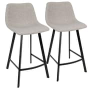 LumiSource Outlaw Industrial Counter Stool in Grey PU- Set of 2 (CS-OUTLW BK+GY2)