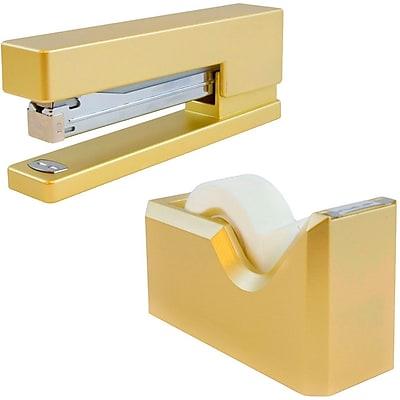 JAM Paper® Office & Desk Sets, 1 Stapler & 1 Tape Dispenser, Gold, 2/pack (3378go)