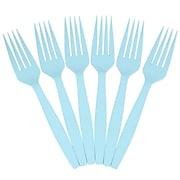 JAM Paper® Big Party Pack of Premium Plastic Forks, Aqua/Light Blue, 100 Disposable Forks/Box (297F100ab)