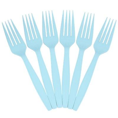 JAM Paper® Big Party Pack of Premium Utensils, Plastic Forks, Aqua Light Blue, 100 Disposable Forks/Box (297F100ab)