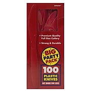 JAM Paper® Big Party Pack of Premium Plastic Knives, Red, 100 Disposable Knives/Box (297KN100re)