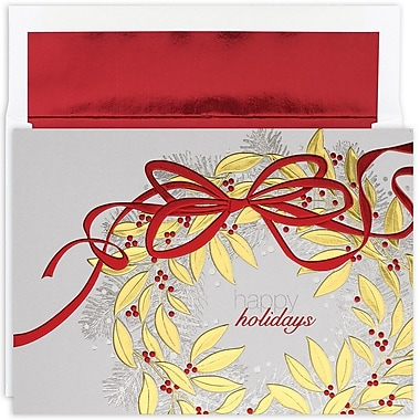 JAM Paper® Christmas Card Set, Holiday Wreath Christmas Cards, 16/pack (526M0638MB)