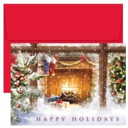 JAM Paper® Christmas Card Set, Cozy Fireplace Holiday Cards, 18/pack (526896500)