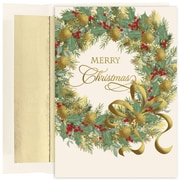 JAM Paper® Christmas Card Set, Traditional Christmas Wreath Christmas Cards, 16/pack (526893800)