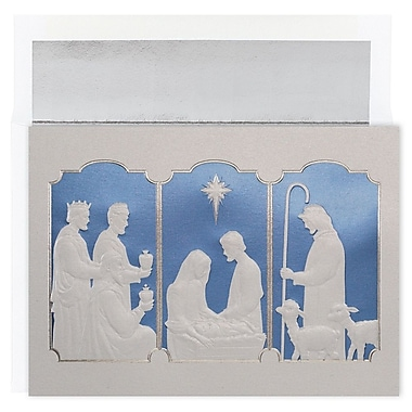 JAM Paper® Christmas Card Set, Manger Tryptich Christmas Cards, 16/pack(526M1256MB)