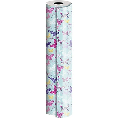 JAM Paper® Industrial Size Wrapping Paper Rolls, Butterfly, 24