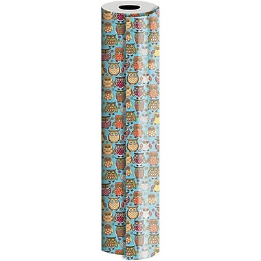 JAM Paper® Industrial Size Wrapping Paper Rolls, Owlie, 30