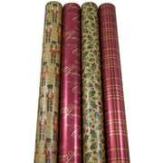 JAM Paper® Christmas Wrapping Paper, Traditional Christmas, 45 Sq. Ft, 4/pack (368533609)