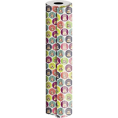 JAM Paper® Industrial Size Wrapping Paper Rolls, Cake & Candles, 24