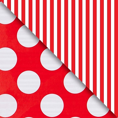 JAM Paper® Industrial Size Wrapping Paper Rolls, Red Dot & Stripe, Full Ream (1666 Sq. Ft), Sold Individually (165J99224833)