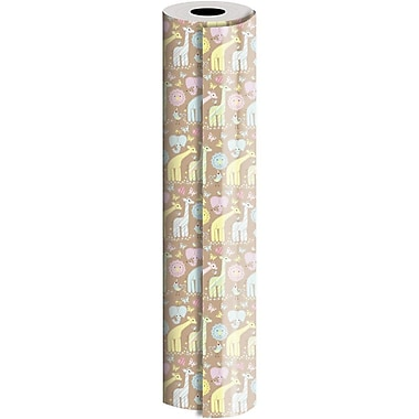 JAM Paper® Industrial Size Wrapping Paper Rolls, Animal Quilt, 30