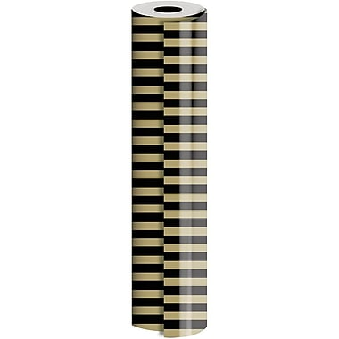 JAM Paper® Industrial Size Wrapping Paper Rolls, Black Gold Stripe, 30