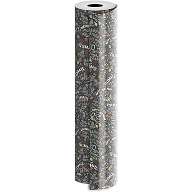 JAM Paper® Industrial Size Wrapping Paper Rolls, Birthday Chalk, 30