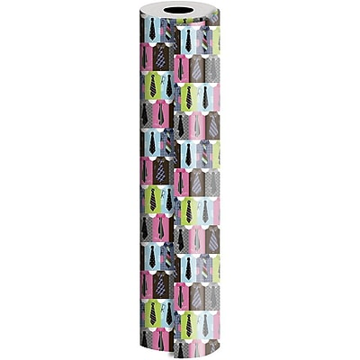 JAM Paper® Industrial Size Wrapping Paper Rolls, Handsome Ties, 1/4 Ream (520 Sq. Ft), Sold Individually (165J18430208)