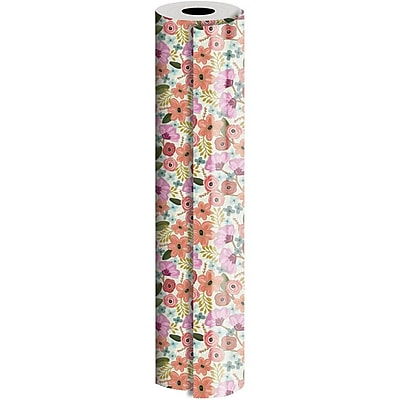JAM Paper® Industrial Size Wrapping Paper Rolls, Gypsy Floral, 1/2 Ream (1042.5 Sq. Ft), Sold Individually (165J20930417)